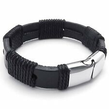 """MENDINO Men's Stainless Steel Leather Cord Bracelet Rope Clasp Bangle 8"""" 8.5"""" 9"""""""