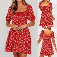 New Boho Square Neck Puff Sleeve Women Zipper Floral Lace-up A-Line Beach Dress