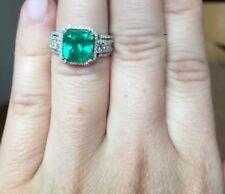 18K WHITE GOLD PAVE DIAMOND 3CT COLUMBIAN GREEN EMERALD HALO ENGAGEMENT RING