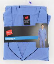 New Hanes Woven Long Sleeve Pajama Set - Blue - Size 2 XLarge