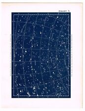 ANTIQUE PRINT VINTAGE 1890 ASTRONOMY SCIENCE STAR CHART MAP CONSTELLATIONS 7A