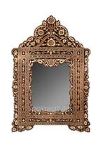 Antique MOP Moroccan Design Hand Craved Wall Mounted Table Top Mirror Brown