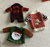 Lot 3 Ugly Christmas Sweater Wine Holiday Bottle Covers Hostess Party Gift Santa