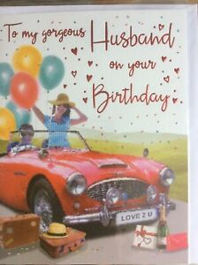 To My Gorgeous Husband On Your Birthday. Modern Design Quality Card Lovely Words