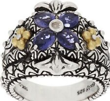 Barbara Bixby Gemstone Flower Ring Iolite Sterling Silver/ 18k Gold, SZ 8