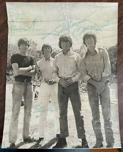 """10"""" X 8"""" BEATLES SIGNED PHOTO FROM HELP MOVIE BAHAMAS 1965 AUTOGRAPHS BY ALL 4"""