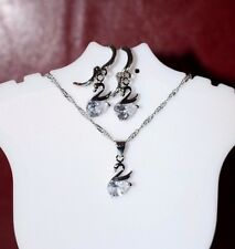 High quality Australian CubicZircon Swan Earrings Necklace Set White Gold Plated
