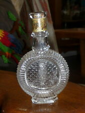 ANTIQUE VICTORIAN CRYSTAL COLOGNE PERFUME BOTTLE FLASK EMBOSSED OWL