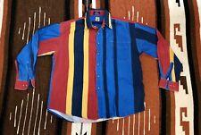 Vintage Maneh Western Cowboy Long Sleeve Color Block Colorful Shirt Size Xl