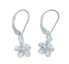 STERLING SILVER 925 HAWAIIAN PLUMERIA FLOWER LEVERBACK EARRINGS CZ 10MM