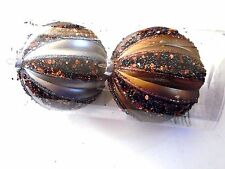 2 Silver & Brown Sequin Beads Ribbed 4.5 In Shatter Resistant Christmas Ornament