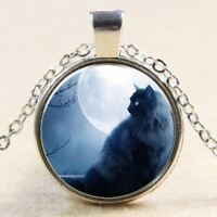 ❤Sonderangebot Katze Halskette Mit Glas Cabochon Anhänger BLAU Katze handgemacht