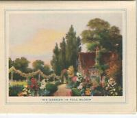 VINTAGE GARDEN FULL BLOOM BOTANICAL TOPIARY ENGLISH COTTAGE FLOWERS CARD PRINT