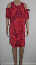 TU Womens Multi Madras Flower Print Cotton Cold Shoulder Dress Size 12