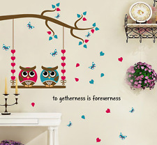 Words Phrases Owl Swing Tree Vinyl Wall Sticker Mural Kids Nursery Bedroom Decal