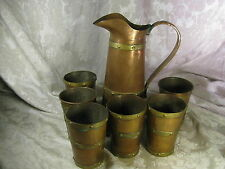 Vintage Copper Rivet Pitcher & 6 Cups