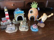 New listing Aquarium Tank Decorations Crab Shack Spongebobs House Lighthouses Lot Of 7