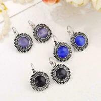Big lange Tropfen-Ohrringe Hippie Perle baumeln Silber Tibetischen Runde A0 D8E3