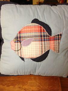 Blue Fish Pillow Kids Decorative Pillow Nautical Patchwork Home Decor