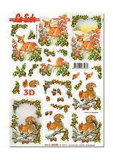 LeSuh 3D Motivbogen Etappenbogen 3D Bild  Eichhörnchen & Rehkiz (054) Grusskarte