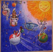 Ukrainian Russian Soviet oil painting Space SPUTNIK-1 Solar planet 1950s KOSMOS
