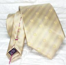 Cravatta geometrica beige e oro seta Nuova Made in Italy handmade marca TRE