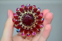 Antique Soviet USSR Brooch with Red Stones Czech Glass Russian