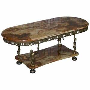VINTAGE MID CENTURY FRENCH ROCOC STYLE GOLD GILT CHERUB MARBLE TOP COFFEE TABLE