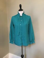 Vintage Lucky Winner Teal Blouse- Small