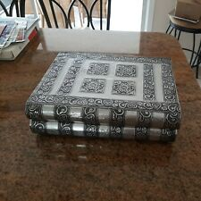 Silver tone jewelry box, hammered metal Book Shaped box