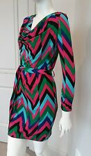 Forever 21 multicolored dress long sleeve belted stretchy sz S NWT