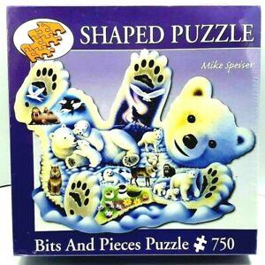 Bits And Pieces Polar Bear Cub Shaped Puzzle 750 Piece Jigsaw Puzzle New Sealed