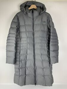 The North Face Sz XL Goose Down Jacket Hooded Long Puffer Womens Coat Grey Gray