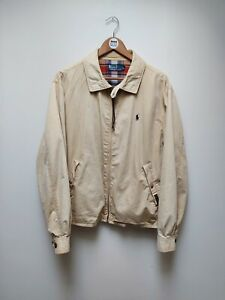Vintage Polo Ralph Lauren Beige Tartan Lined Harrington Lightweight Jacket - XL