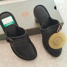 "Born Cameron Womens Shoes sz 6 Black Slides 3"" Cone Heel Buckle New W31020"