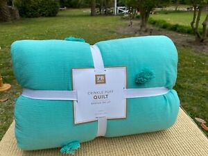 Pottery Barn PB Teen Crinkle Puff Quilt TWIN Pool Blue Never Used