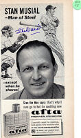ST. LOUIS CARDINALS STAN MUSIAL MAN OF STEEL AUTOGRAPHED AFTA AFTETRSHAVE AD