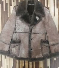 Vtg Sears Leather Collection Brown Shearling Lamb Skin Down Coat 1979 Size 44Reg