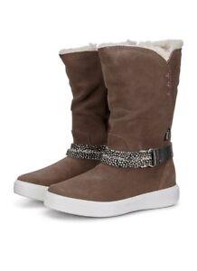 Dark Clay Wool Lined ECCO Girls S7 Teen Boots Grey- SIZE 13.5-1UK/EU 32 FREE P&P