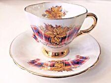 Windsor Royal Canadian Tartan Bone China England Gold Rim Cup & Saucer