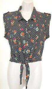 Ladies spot floral print top blouse cami shirt size 12 sleeveless