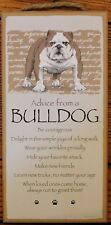 """Dog Advice  BULLDOG Sign Wood 10""""x5""""  Wall Hanging Great Picture Doglove Plaque"""