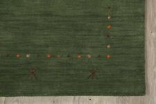 Abstract Green Gabbeh Oriental Area Rug Tribal Hand-Knotted Wool Carpet 4'x6'