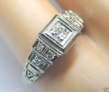 Antique Art Deco Vintage Diamond Engagement 14K White Gold Ring Size 5 EGL USA