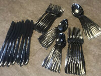Vintage N.S. CO. Stainless Steel Flatware Mid Century Modern Japan Dead Mint