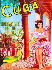 Cuba Cuban Havana Island Girl Holiday Vintage Travel Art Advertisement Poster