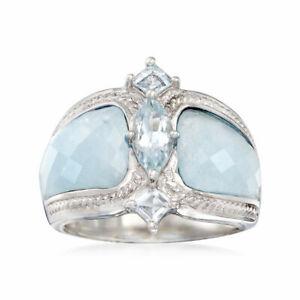 Gorgeous Women 925 Silver Wedding Rings Diamond Cut Aquamarine Jewelry Size 6-10