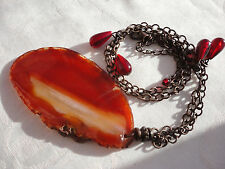 "Scottish carnelian agate 7cm pendant red glass brasstone 29gram 19-22"" necklace."