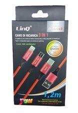 Cavo Usb Di Ricarica 3in1 Plug Micro Usb Lightning Iphone Tipo C Linq Dati-043