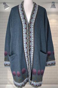 Beautiful Penny Plain 100% Wool Floral Knit Coatigan Longline Cardigan Large